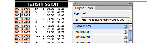 Hyperlinks Created by InData Import