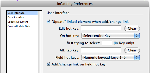 InCatalog Keyboard Shortcuts