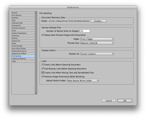 InDesign File Handling preference dialog